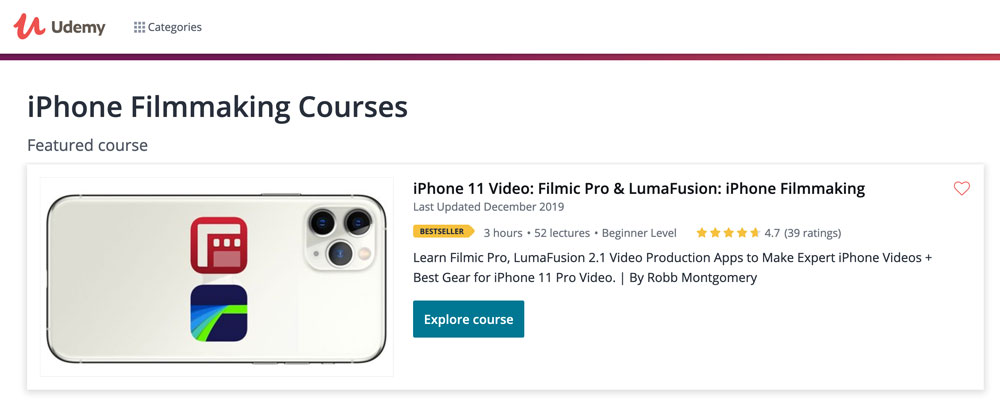 Best-selling iPhone video online course – FilmicPro & LumaFusion
