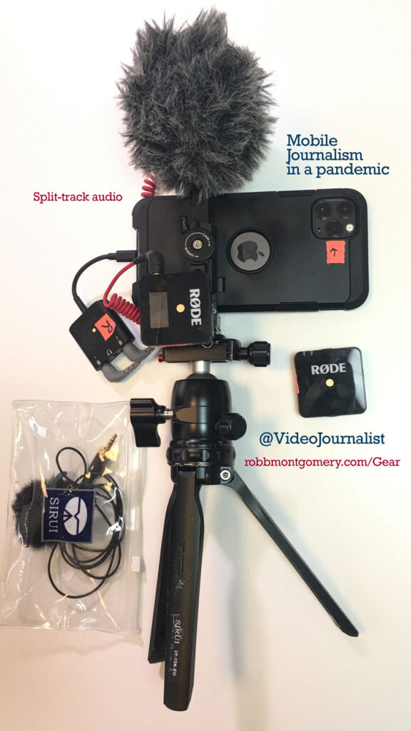Mobile journalism rig with 2-track audio – TV broadcast reporting style